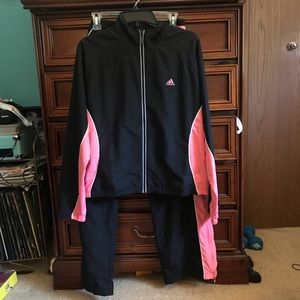 Adidas Black and Pink Tracksuit US Size Large
